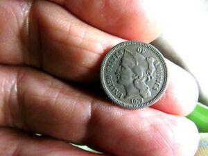 Original No Problem 1868 United States Copper Nickel Three Cent Coin