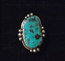 Silver size 5 3/4 Ring 17g Old Pawn Navajo Blue-Diamond Turquoise Sterling