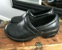 BOC Born Concepts Black Pebbled Leather Comfort Clogs Mules Shoes Slip Ons 8W