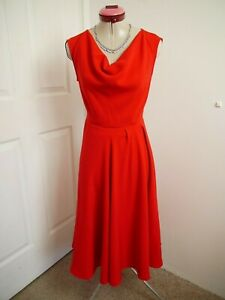 HEINE Red Fit & Flare DRESS Size '38' 10 BNWT NEW Cowl Sleeveless Party Retro