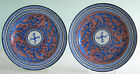 Pair Staffordshire Davenport Pearlware Clobbered Plates ~ CHINESE DRAGON ~ c1810