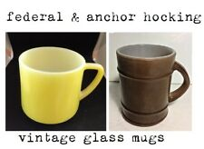 Vintage Anchor Hocking Brown Barrel #111+Federal Yellow D-Handle #39 Glass Mugs