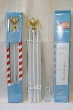 "6' Flag Pole- Eagle Top ( 6ft White Pole Kit Diameter 3/4"" Eagle steel bracket )"