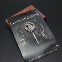 USA Game of Thrones Hand of The King Silver Plated Cosplay Pin Brooch With Card