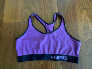 UNDER ARMOUR Sports Bra Womens Size M/L  Light Compression Purple & Black