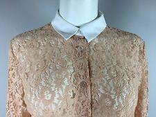 EQUIPMENT FEMME Peach Floral Lace Long sleeve Button front Tunic top S