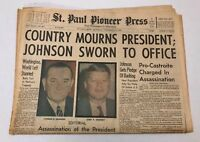 JFK ASSASSINATION: St. Paul Pioneer Press Newspaper November 23rd, 1963