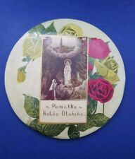 Older Vintage Our Lady of Lourdes Metal Wall Plaque with Basilica