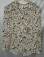 H&M  Woman's 14 Long Sleeve Button Up Blouse Birds and Floral