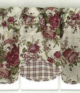 Waverly Norfolk Rose Red Gingham Valance 16 X 60 Cottage Country Floral Green