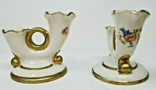 Vintage Abingdon Double Candlesticks Candle Holders Roses Gold Rimmed
