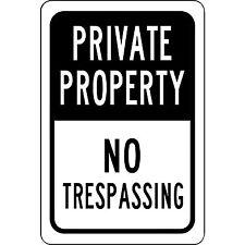 "Private Property No Trespassing Aluminum Sign 8"" x 12"" - UV Resistant"