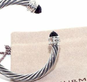 David Yurman Sterling Silver 7mm Cable Crossover Amethyst Diamond Bracelet