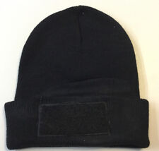 """Cuffed Beanie with 4""""x2"""" Hook & Loops  patch. (BLACK)"""