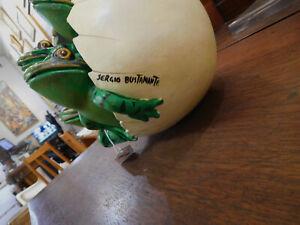 Sergio Bustamante Art Ceramic Sculpture Egg hatching Frog Signed Mid Century