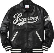 Supreme Uptown Studded Leather Varsity Jacket Size Large Black SS16J28 New 2016