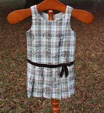 Girls Drop Waist Dress Size 4 Aqua Blue and Brown Plaid with Flowers
