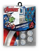 Fabric Disney Marvel Shower Curtain Set 12 Matching Hooks Avengers Mickey Cars