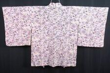 Vintage Japanese Ladies' Ivory/Pink/Mauve/Purple Floral Kimono Haori Jacket 8-12
