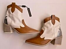LAURA BELLARIVA Frida Leather TEX Cowboy Ankle BOOTS Brown / Off White ( 40 )