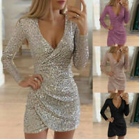 Sequin Mini Women Lady V-Neck Wrap Evening Bodycon Sleeve Long Party Dress