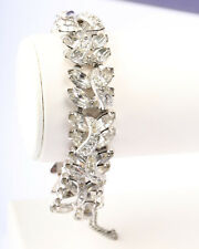 Vintage 1950s Silver Tone and Clear Rhinestone Eisenberg Bracelet