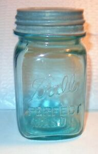 HTF OLD VINTAGE 1923-33 SQUARE BLUE GLASS BALL  PINT CANNING JAR WITH  ZINC LID