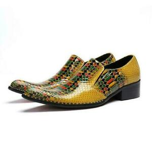 Mens Pointy Toe Wedding Slip On Nightclub Dress Formal Business Leather Shoes @