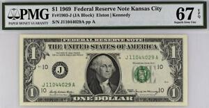 1969 $1 Kansas City Federal Reserve Note FRN PMG 67 EPQ *Superb Gem  • 1903-J