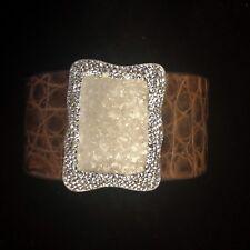 La Costa Organic Crocodile & White Calcite Cuff Bracelet