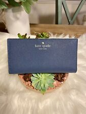 Kate Spade Stacy Admiral Blue Leather Snap Closure Wallet  NWOT Gorgeous Medium