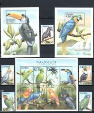 [ZAM] ZAMBIA 2000 BIRDS OF PARADISE. SET OF 5 STAMPS + SHEET OF 8 + 2 S/S..