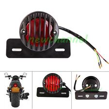 Round Motorcycle LED Tail Light License Plate For Bobber Cafe Racer Clubman New