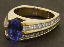 Heavy 18K gold 4.40CTW VS diamond/9.1 X 6.1mm Blue sapphire cocktail ring size 6