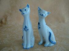 Pair Andrea by Sadek Slim Cat Figurines ~ Blue & White ~ Made in Thailand