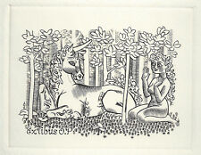 Mark Severin Einhorn Erotisches Exlibris  O.P. Erotic Nude & Unicorn c2 #344