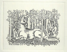 Einhorn Erotisches Exlibris Mark Severin / O.P. Erotic Nude & Unicorn c2 #344