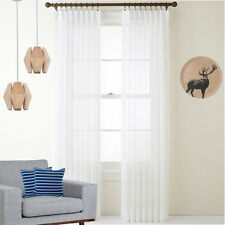 QUICKFIT SHEER PINCH PLEAT COTTON LOOK VOILE WHITE CURTAINS