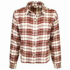 Levi's Women's Red White Maple Utility Plaid Cropped L/S Flannel Shirt (S01)