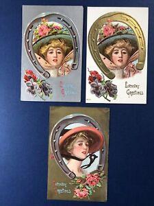 3 Birthday Antique Postcards,1900s. EMB Gold / Silver Trim. Ladies & Horseshoes