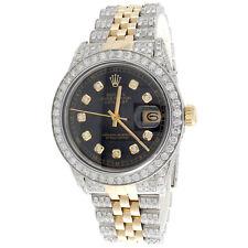 Rolex DateJust 16013 Diamond Watch 18K Two Tone / Steel 36mm Black Dial 8 CT.