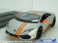 LAMORGHINI HURACAN LP610 MODEL CAR 1:36 SCALE SILVER + CASE SPORTS KINSMART K8