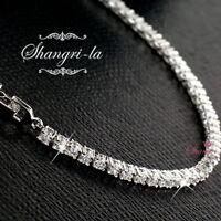 9K White GOLD SILVER TENNIS Bridal BRACELET Made with SWAROVSKI DIAMOND EX701
