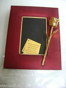 VALENTINE ROMANTIC GIFT 24K Gold Dipped Real Rose in Vintage Row Silk Frame NEW