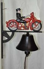 Red Motorcycle Bell Wall Mount Cast Iron