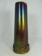 Irisierende Jugendstil  Glas Vase mit Metallmontierung  Art Nouveau glass vase