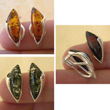 BALTIC CHERRY, HONEY or GREEN AMBER & STERLING SILVER CLIP ON EARRINGS
