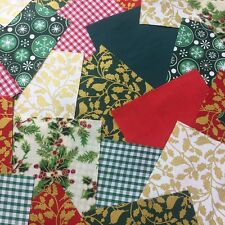 "100 x 4"" Festive poly cotton fabric patchwork squares Craft Quilting"