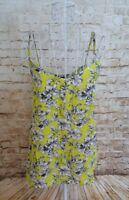 NEW LOOK Womens Yellow Black Floral Print Sleeveless Cami Top Size 10