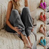 Winter Women Home Sport Warm Loose Sweat Pants Jogging Straight Sleep Trousers G